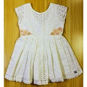 Carrement Beau White Eyelet Sleeveless Dress $80